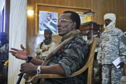 Le président tchadien Idriss Déby, le 6 février 2008, lors d'une conférence de presse au palais présidentiel de N'Djamena.