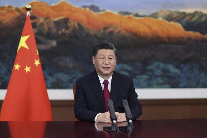 Le président Xi Jinping lors d'un discours en visioconférence, le 20 avril à Pékin.