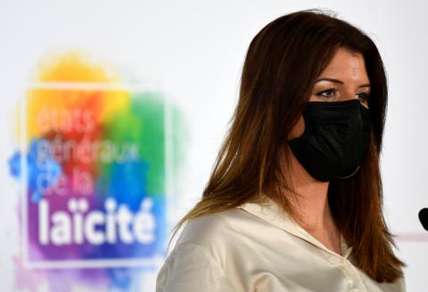 French Junior Minister of Citizenship Marlene Schiappa delivers a speech for the opening of the general assembly of secularism in Paris on April 20, 2021. / AFP / POOL / Bertrand GUAY