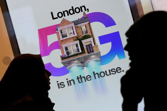 Publicité, à Londres, pour la 5G, le 28 janvier 2020.