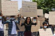 Manifestation contre le coup d'État militaire en Birmanie, à Rangoun, le 20 avril 2021.
