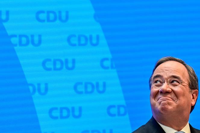 Le chef de l'Union chrétienne-démocrate (CDU), Armin Laschet, lors d'une conférence de presse au siège du parti, à Berlin, le 20 avril.