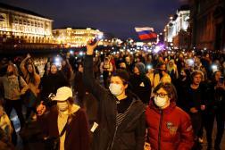 Lors de la manifestation de soutien à l'opposant russe Alexeï Navalny, à Saint-Pétersbourg, le 21 avril.