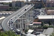 Photo d'archive du pont Morandi effondré, à Gênes, le 16 août 2018.