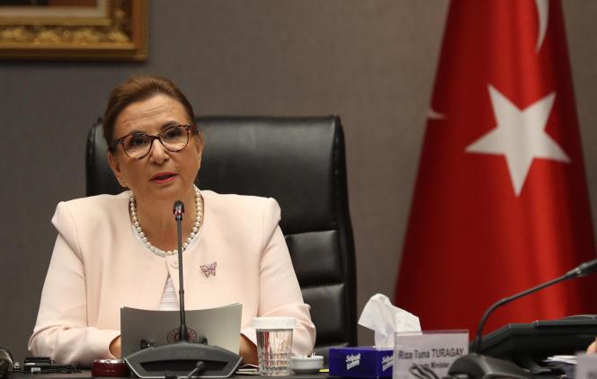 L'ex-ministre du commerce turque, Ruhsar Pekçan, lors d'une conférence de presse à Ankara, le 10 septembre 2019.
