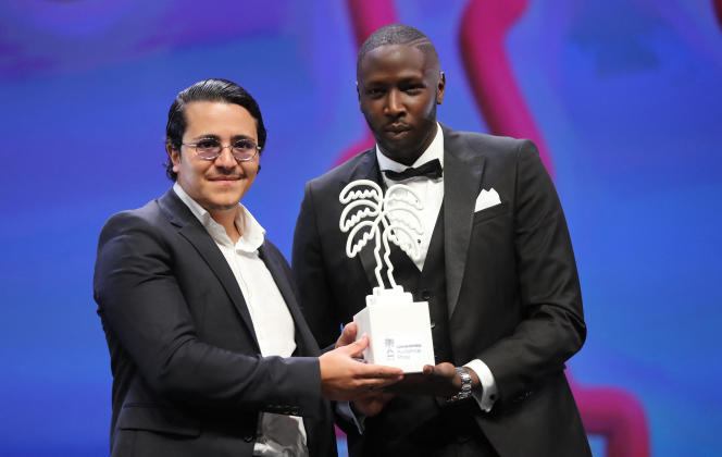 L'acteur Brahim Bouhlel (à gauche), au côté de Saidou Camara, à Cannes, le 14octobre 2020.