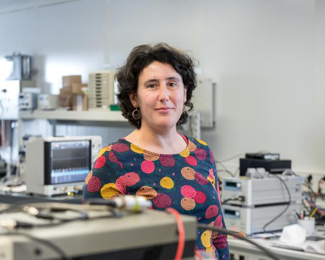 Julie Grouillier em seu laboratório CNRS / THALES, no Palaiso, 20 de abril de 2021.