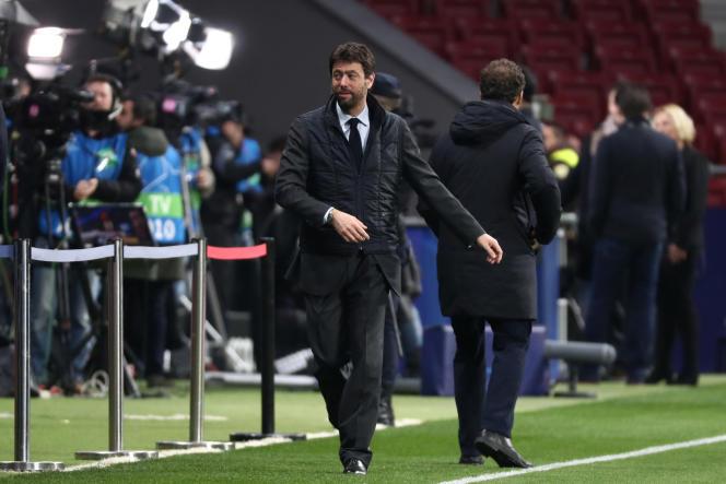 Le président de la Juventus Turin, Andrea Agnelli, avant le match contre l'Atletico Madrid, à Madrid, le 20 février 2019. REUTERS / Sergio Perez