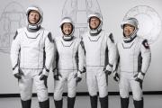 Les quatres astronautes qui ont décollé vers l'ISS, le 23 avril 2021.