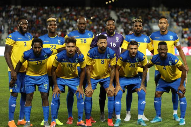 C'était avant la pandémie de Covid-19 : les joueurs gabonais lors d'un match amical entre le Maroc et le Gabon à Tanger, le 15 octobre 2019.