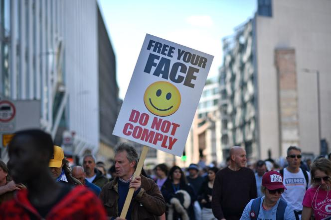 The protesters protested wearing masks on the streets of London on Saturday 24 April.