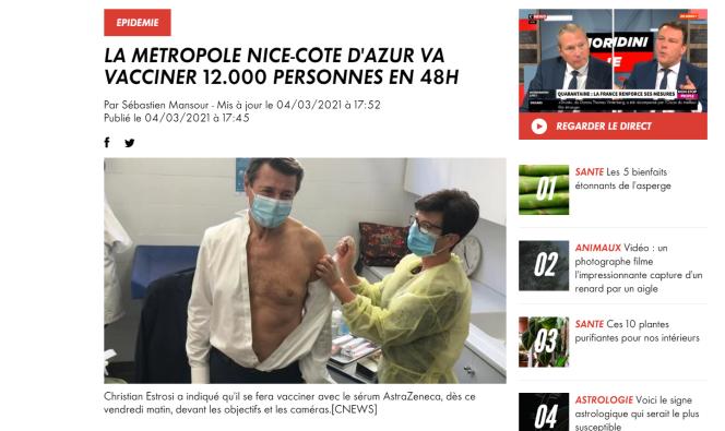 La date de l'articlede CNews et l'emploi du futur dans la légende ne laissent aucun doute : cette photo d'archive n'est pas présentée comme une photo de la vaccination de M.Estrosi contre le Covid-19.