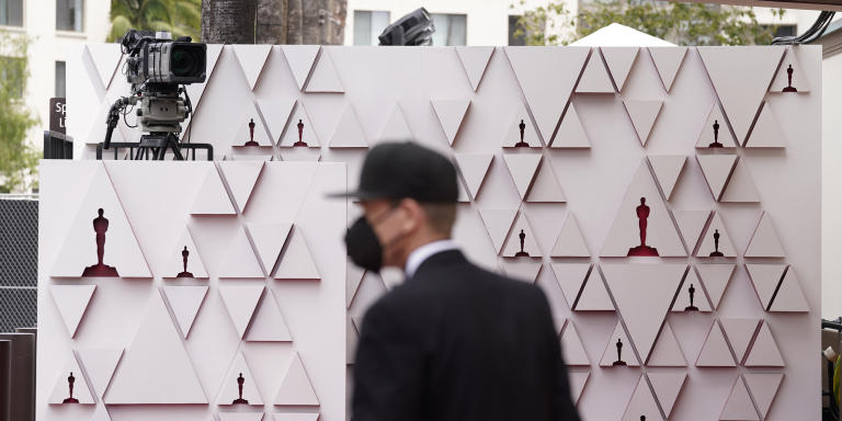 A view of the red carpet appears before the start of the Oscars on Sunday, April 25, 2021, at Union Station in Los Angeles. (AP Photo/Chris Pizzello, Pool)