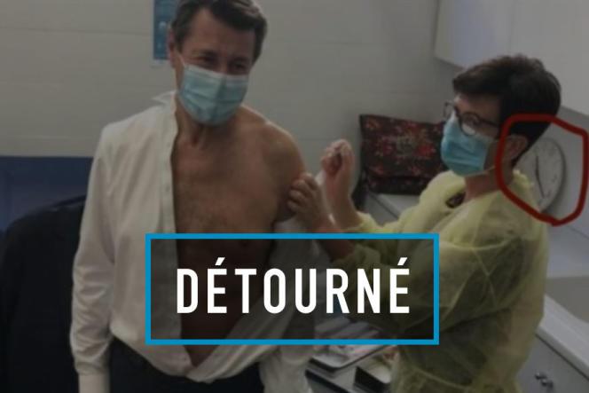 Photographie montrant le maire de Nice, Christian Estrosi, qui se fait vacciner.