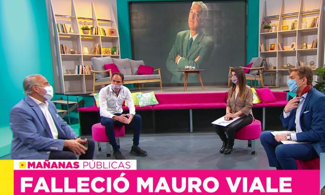 Capture d'écran de l'émision «Mañanas Publicas» sur la chaîne du service public argentin (TPA), au lendemain de la mort foudroyante de Mauro Viale, le 11avril2021.