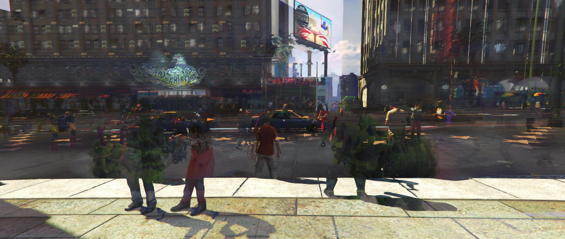 La série« Indifferent Universe» a été réalisé par Pia Zdila dans le cadre des cours de Sebastian Möring à l'université de Postdam. En superposant plusieurs images de la même scène du jeu vidéo GTA V, ce travailreflète le passage du temps dans ce jeu en monde ouvert.