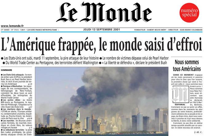 La« une» du journal «Le Monde» daté jeudi 13 septembre 2001.