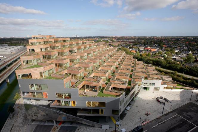 Le bâtiment Mountain, à Copenhague, réalisé par l'agence Big en 2008.
