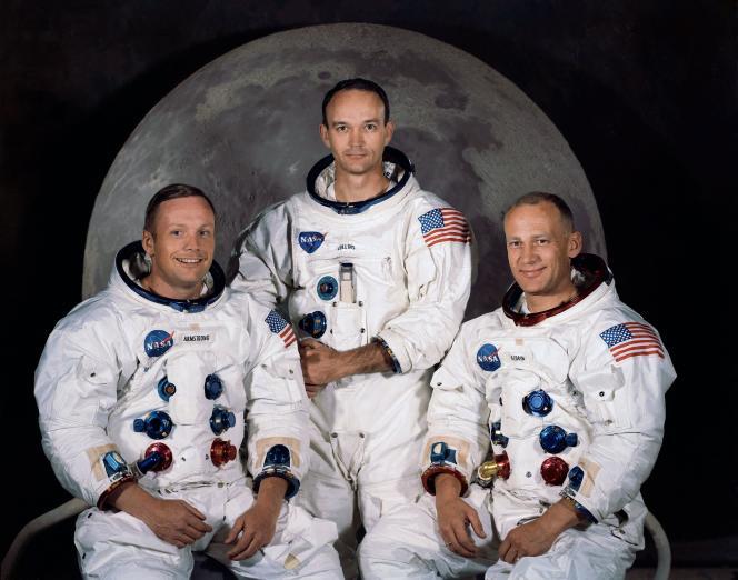 Los tres miembros de la tripulación del Apolo 11, de izquierda a derecha: Neil A. Armstrong, Michael Collins y Edwin E.