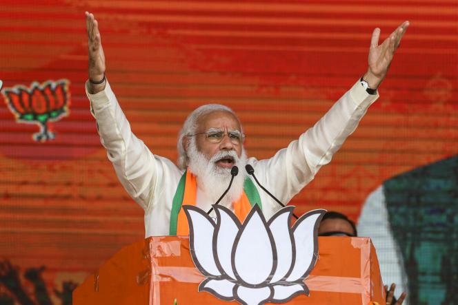 Narendra Modi à Calcutta, le 7 mars 2021.