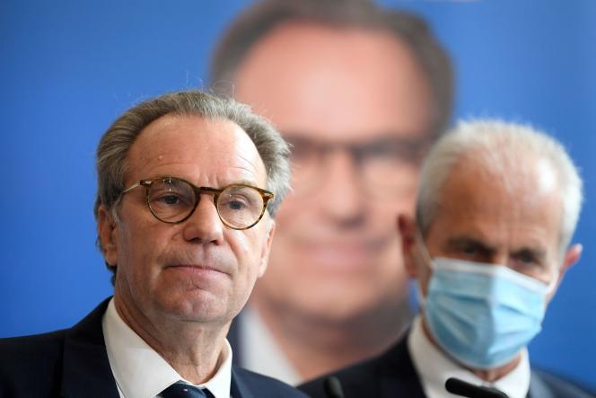 Le président LR sortant de Provence-Alpes-Côte d'Azur, Renaud Muselier, en conférence de presse, à Marseille, le 28 avril 2021.