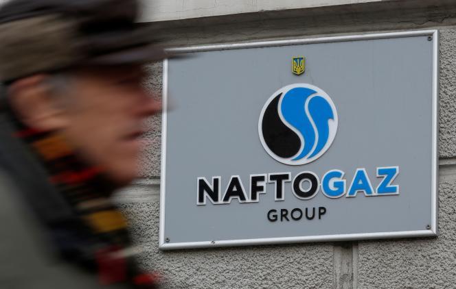 Devant le siège de Naftogaz, à Kiev, le 2 décembre 2019.