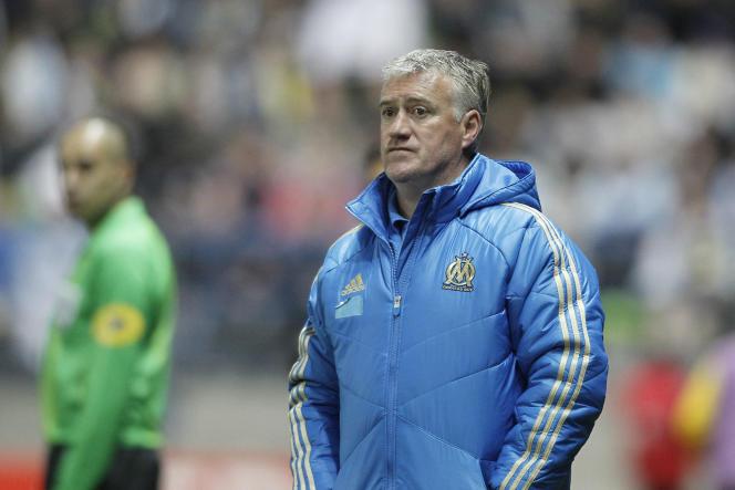 Didier Deschamps, alors entraîneur de l'OM, lors d'un match de Coupe de France faceà Quevilly, le 20 mars 2012, à Caen.
