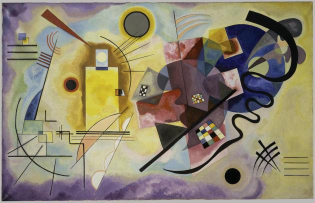 «Gelb-Rot-Blau» (Jaune-rouge-bleu), de Vassily Kandinsky, 1925. Synesthète, l'artiste abstrait disait entendre la couleur et voir le son.Il associait par exemple lebleu clair à la flûte, le bleu foncé au violoncelle. La forme triangulaire évoquait des sons aigus, le rond des graves.