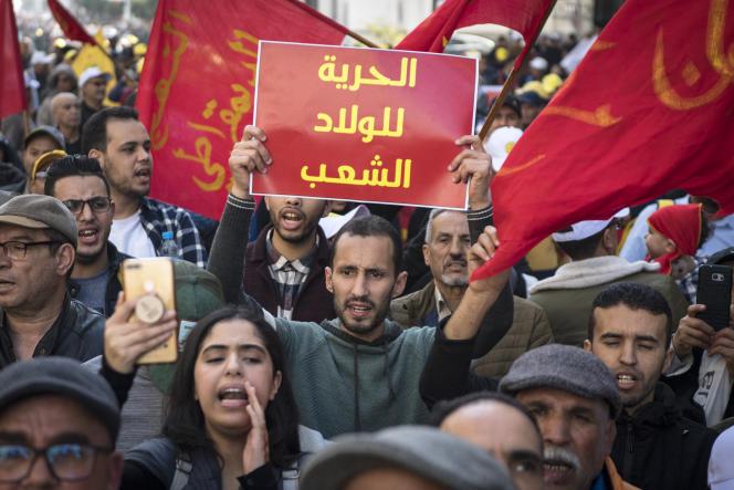 Manifestation contre la pauvreté et la situation économique, à Casablanca, le 23 février 2020.