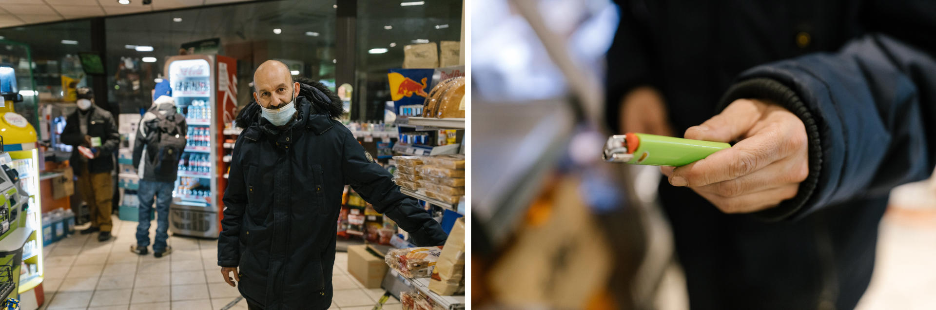 Fred vient dans la supérette de Montparnasse acheter un briquet, car il est en plein craving(envie irrésistible de consommer)de crack, le14 avril 2021.