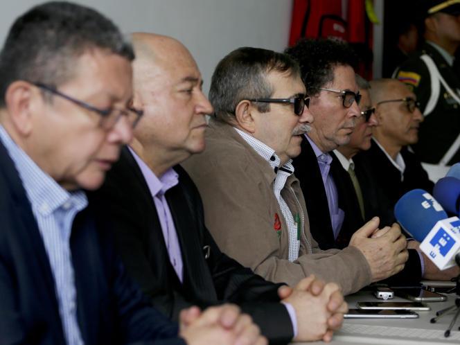 Rodrigo Londono, le chef du Parti des communs, fondé par les anciens FARC, ici le 23 septembre 2019, est poursuivi pour crime contre l'humanité.