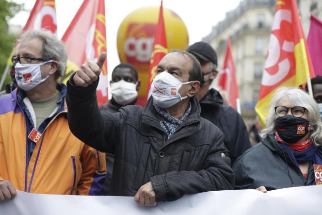Philippe Martinez (CGT) lors de la manifestation du 1er mai 2021, à Paris.