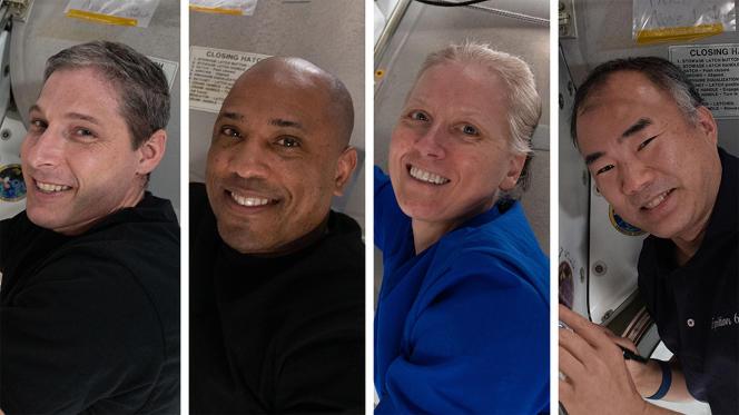 Van links naar rechts zijn de Amerikaanse astronauten Michael Hopkins, Victor Glover, Shannon Walker en de Japanner Soishi Noguchi binnenkort weer op aarde.