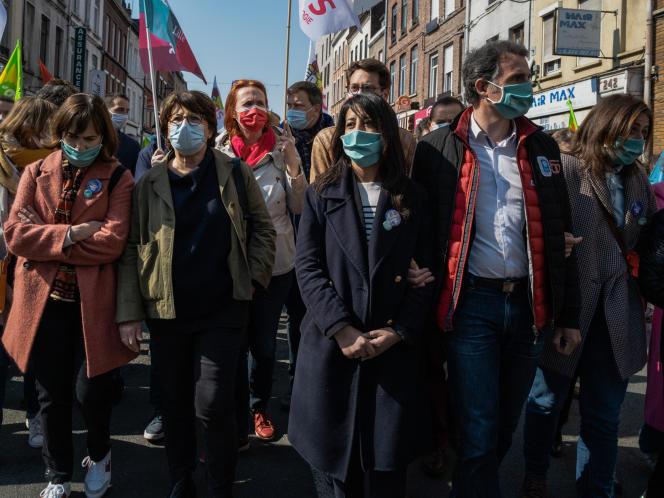 Laurence Rossignol, Martine Aubry, Karima Delli, Benjamin Lucas et Eric Piolle, lors de la manifestation lilloise du 1er mai 2021.