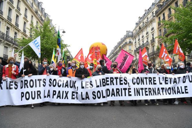 Manifestation de la CGT, lorsdu défilé du 1er-Mai, à Paris.
