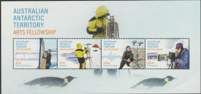 Série sur l'art en Antarctique, en vente le 16 mars. Territoire antarctique australien (https://australiapostcollectables.com.au/stamp-issues/australian-antarctic-territory-arts-fellowship).