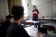 Lors d'un cours d'allemand au lycéeBuffon, à Paris, le 3 mai.