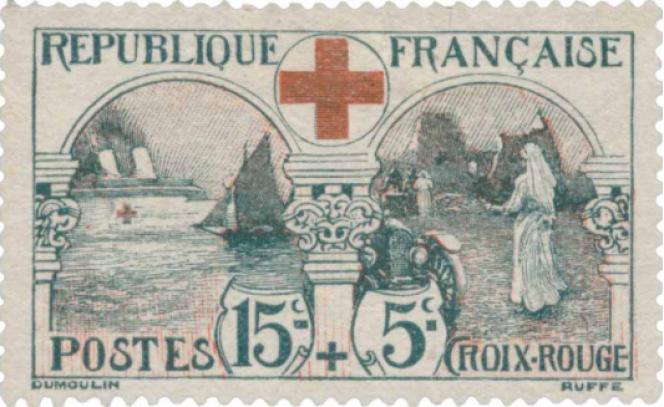 Au profit de la Croix-Rouge française. Infirmière et navire hôpital. Timbre dessiné par Louis Dumoulin, gravé par Léon Ruffé. Emis en 1918.