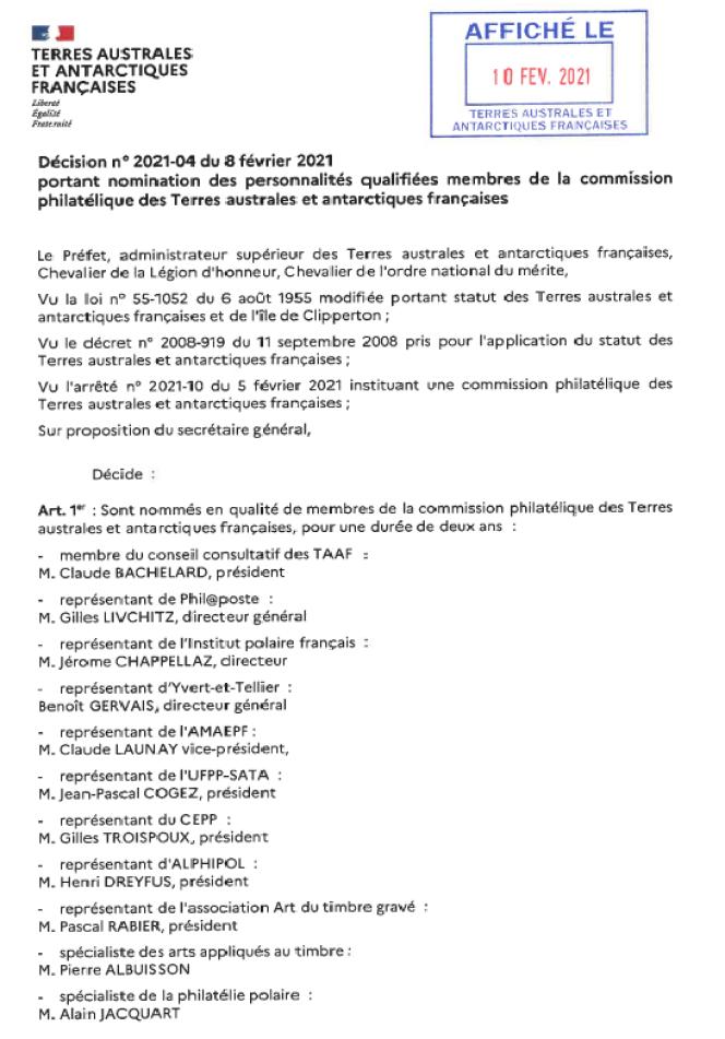 Liste des membres de la commission philatélique des TAAF.