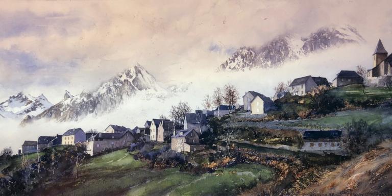Aquarelle de François Carrafancq représentant le village de Lescun.