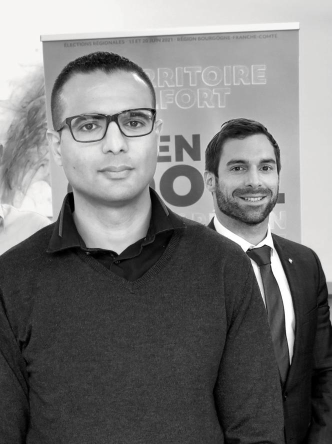 Kamel Agag-Boudjahlat (ici au premier plan avec Julien Odoul) a subi de nombreuses attaques en ligne à la suite de la publication de ses affiches et de son clip de campagne.