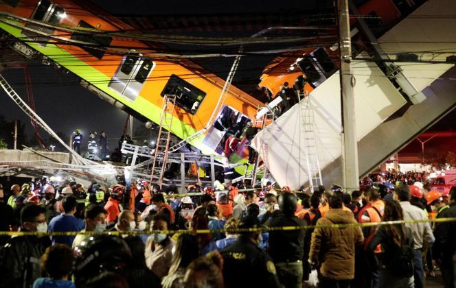 L'accident s'est produit près de la station Olivos, sur la ligne 12 du métro dans le sud de Mexico, le 3 mai 2021.