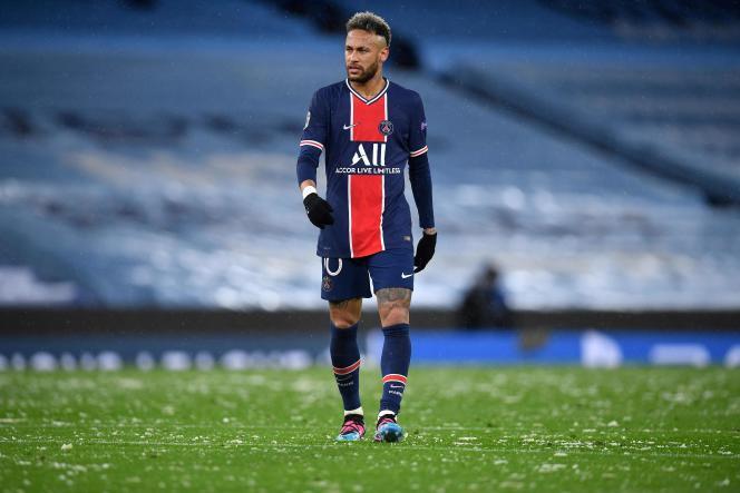 Neymar face à Manchester City lors de l'élimination du PSG en demi-finale de la C1, le 4mai 2021