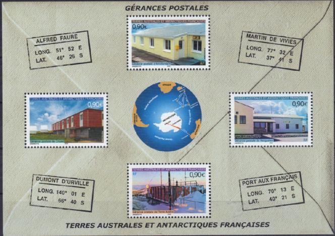 « Gérances postales»: bloc de timbres des TAAF (2004).