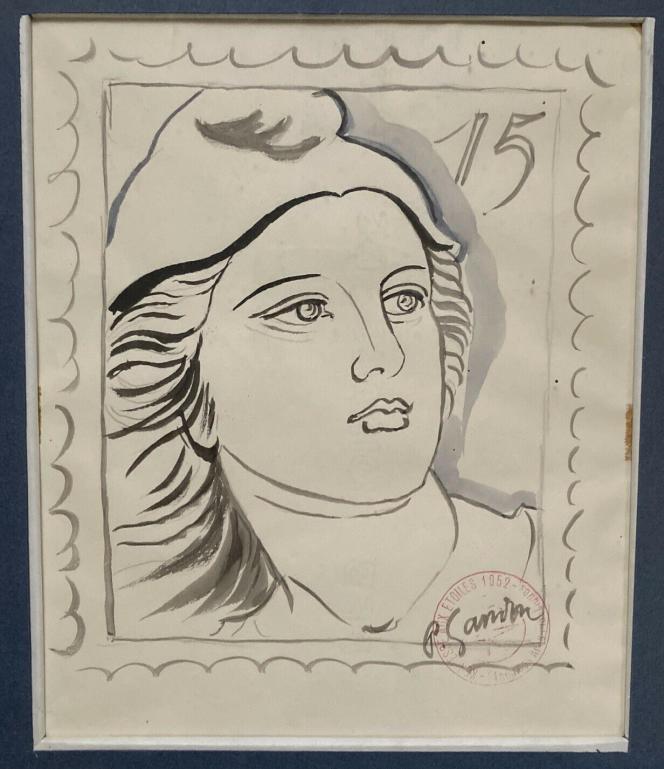 Dessin de la «Marianne» de Gandon, par Pierre Gandon, en vente sur eBay (capture d'écran).