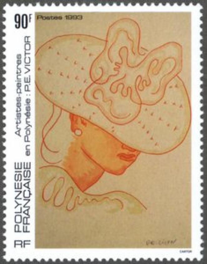 « Vahiné au chapeau», par Paul-Emile Victor. Timbre de Polynésie française (1993).