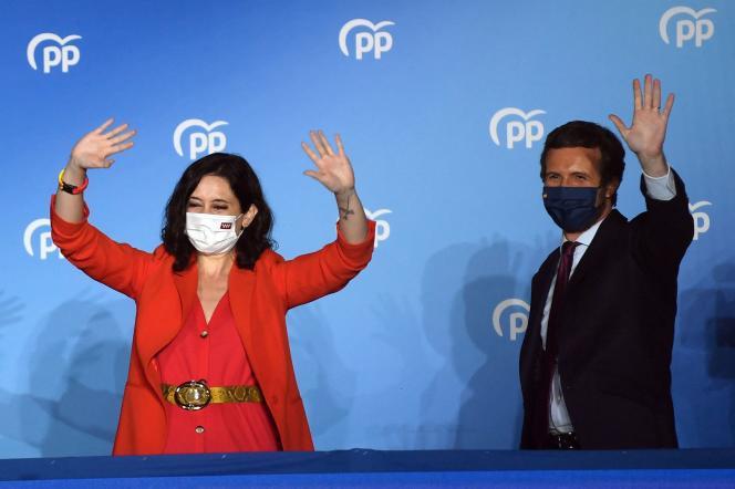 Isabel Díaz Ayuso, candidata del Partido Popular (PP), gana las elecciones autonómicas de Madrid el 4 de mayo de 2021.