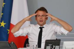 Emmanuel Macron lors de la visioconférence avec plusieurs artistes,le 6 mai 2020.