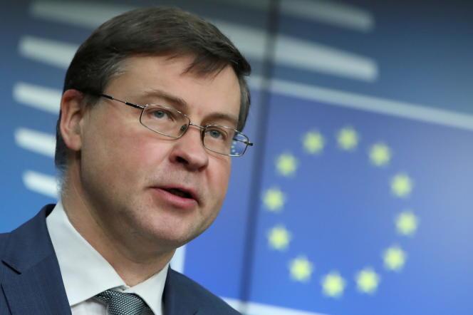 Le vice-président de la Commission européenne Valdis Dombrovskis à Bruxelles (Belgique), le 16 mars 2021.