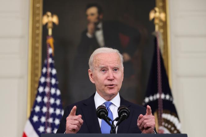 جو بایدن رئیس جمهور ایالات متحده در کاخ سفید در واشنگتن در تاریخ 5 مه.